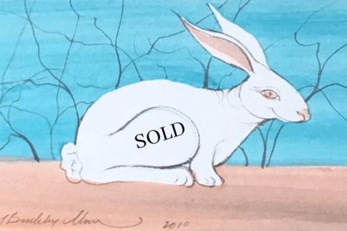Original Watercolor of bunny by P Buckley Moss. SOLD