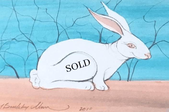 Original Watercolor of bunny by P Buckley Moss. SOLD