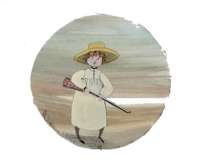 Miniature watercolor by P Buckley Moss featuring a young girl with straw, rifle in hand off to bring back a fowl for dinner. Soft colored background of sky blue and aqua, green and earth tone hues. Cream and white space.