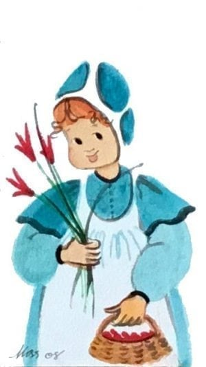 Original watercolor painting by P Buckley Moss exclusively at Canada Goose Gallery in Waynesville, Ohio featuring small child holding red flowers in aqua and white dress.
