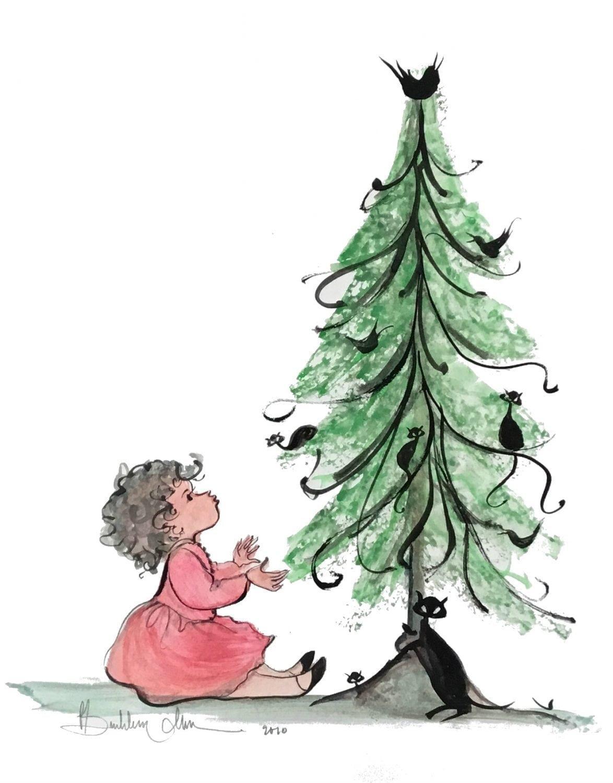 pbuckleymoss-original-watercolor-Christmas-Black-Cat-Child-painting