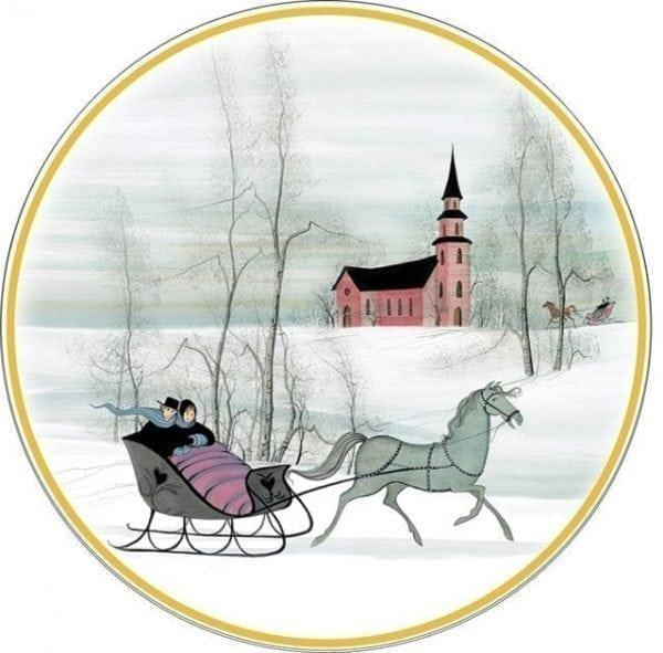 Colonial Winter Porcelain Ornament by P Buckley Moss features a horse drawn sleigh with couple and church in the background. Feeling of Love.