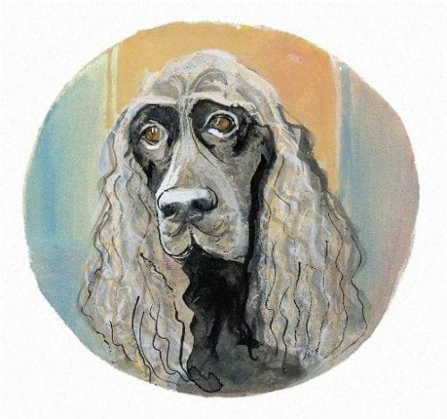 Field Spaniel limited edition print is a life-like portrait of this breen featuring colors of light and dark grays and black for the dog against a background of aqua, gold and tan.