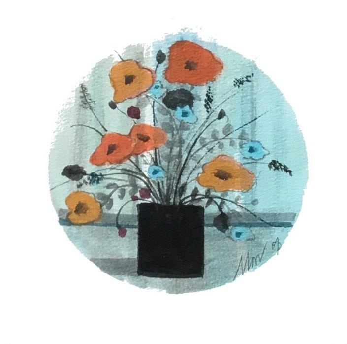 Original watercolor painting by P Buckley Moss. Circular background and stripes of colorful blue with some gray, flowers are shades of tans and muted orange with sprigs of accent flowers in the same pot.