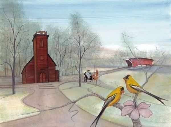 For the Love of Iowa limited edition print by P Buckely Moss features the Little Brown Church in Nashua, Iowa, Madison County Bridge, Iowa State Bird, the goldfinch and the Prairie Rose which is the Iowa state flower. Colors of earth tones, blue and green with bright yellow in the birds and the palest of links in the fower. Light red for the bridge ane brown for the branches.