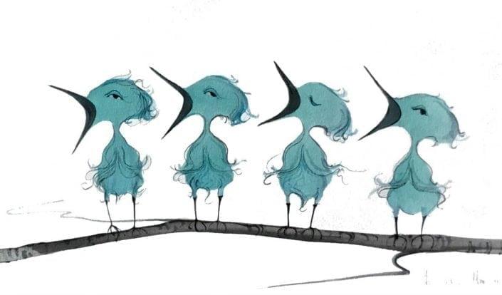 BIRDS-ORIGINAL-watercolor-painting-pbuckleymoss-art