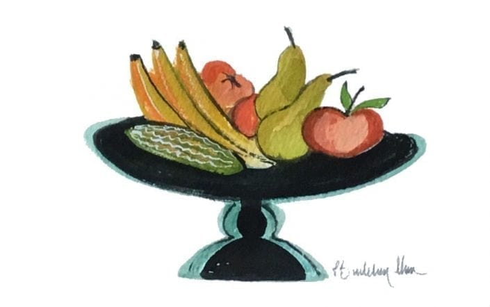 Fruit Still Life Original Watercolor Painting by P Buckley Moss available at Canada Goose Gallery in Waynesville, Ohio. Out of the ordinary subject matter for Pat Moss in colors of black and turquoise for the stand and muted colors of yellow, tan, mauve, reds and green for the fruti.