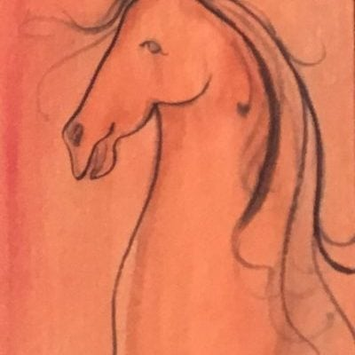 CanadaGooseGallery-WaynesvilleOhio-pbuckleymoss-original-watercolor-horse