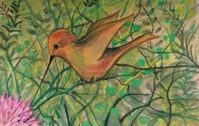 Hummingbird original watercolor painting in shades of soft yellow, rust and green by P Buckley Moss. Background is an array of leafy greens and brown branches.