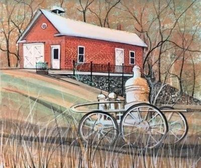 Painting-pbuckleymoss-Original-Watercolor-Firehouse-pumper