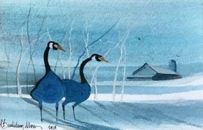 pbuckleymoss-Original-Watercolor-Geese-Blue-Love Valentine