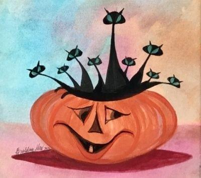 CanadaGooseGallery-Waynesville-Ohio-Painting-pbuckleymoss-Original-Watercolor-Pumpkin-Black-Cat