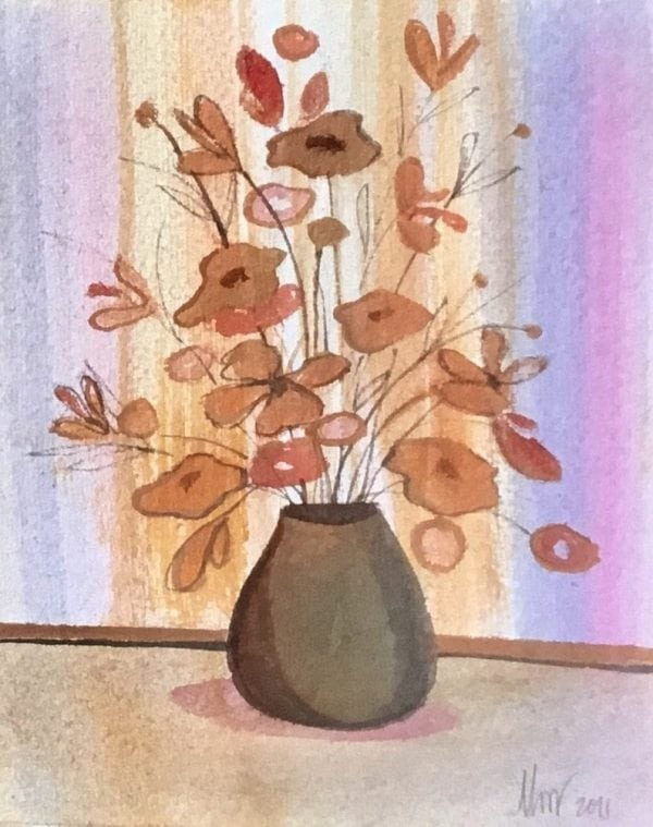 Original watercolor painting by P Buckley Moss features a gray pot with tan and rust colored flowers and a background of colorful stripes for a wall setting. Shades of light Yellows, pale pink and blue set this floral arrangement aglow.