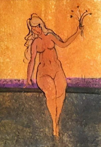 Painting-rare-subject-pbuckleymoss-Original-Watercolor-nude-CanadaGooseGallery-WaynesvilleOhio