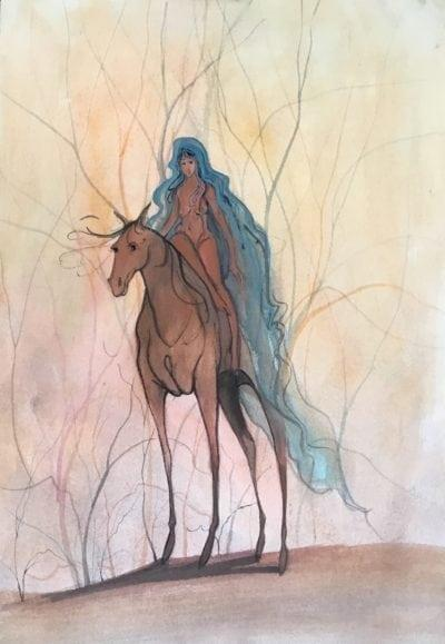 Painting-pbuckleymoss-original-watercolor-horse-nude