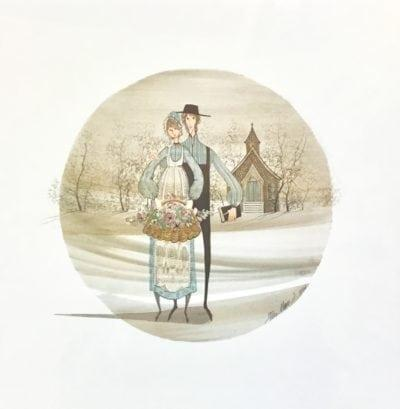 September Love is a limited edition from early years featuring a couple in from of a country church. Soft colors and a Z-shaped landscape background.