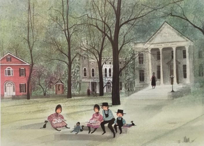 The Old Library rare, limited edition print by P Buckley Moss original library in Lexington, Ky opened in 1905, as Carnegie Library and its building is used today Carnegie Center for Literacy and Learning. Colors of cream and white with green, rose and black for the iconis tree by Moss.