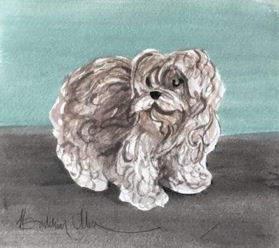 Shaggy dog original watercolor painting by P Buckley Moss featuring a small dog in tans, gray and white with brown and turquoise background.
