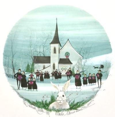 White Christmas by P Buckley Moss features a Winter church and caroling scene as people celebrate Christmas. However, Pat has added a Bunny in the foreground as it represents the year that she didn't finish her children's artwork until Easter.