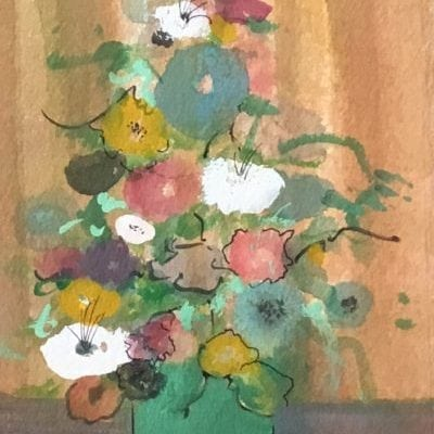 Original watercolor painting by P Buckley Moss featuring a lovely green square pot and a variety of different colored flowers i the arrangement. Background sets off the flowers with a combination of golds, tans and rusts.