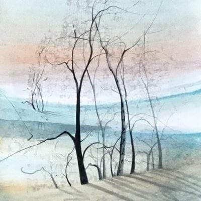 Original Watercolor painting by P Buckley Moss of landscape featuring colors of light and darker aqua, earth tones, peach and pink for the sky and white spaces throughout. Bold Black Moss Trees.