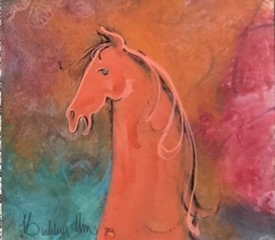 Original watercolor miniature painting by P Buckley Moss featuring the side view of horse head and neck. Copper horse with brown-black main with background of blended turquoise, rose, tangerine and earth tones.