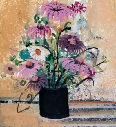 Original watercolor painting by P Buckley Moss featuring a large bouquet of flowers in different colors in a black pot. Colorful background in shades of tangerine with stripes of medium gray and light gray to the side of the pot.
