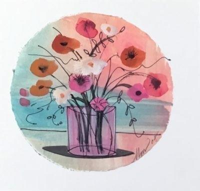Lovely original watercolor painting by P Buckley Moss. Colorful dark pink and cream colored flowers in clear vase on blue and peachy pink background. Exclusively at Canada Goose Gallery in Waynesville, Ohio.