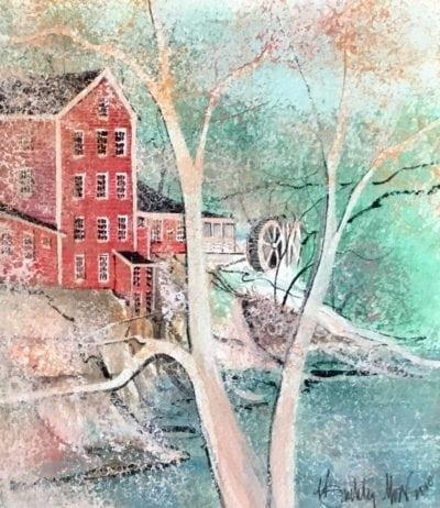 Spring Comes To Clifton Mill Original Watercolor Painting by P Buckley Moss only available at Canada Goose Gallery in Waynesville, Ohio. Colors of muted tans and creams with bold aqua along with a beautiful steel blue gray in the foreground and background. Reds accent the mill with a cream and white Moss bare tree as one of the focal points of the painting.