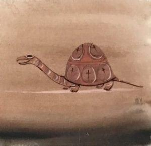Turtle Original Watercolor Painting by P Buckley Moss available only at Canada Goose Gallery in Waynesville Ohio. Turtle facing left in shades of rust and cream with accents of earth colors, blacks and browns in the background and foreground.