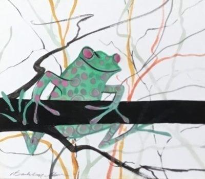 Original watercolor painting by P Buckley Moss of green frog with muted pink spots and bulging soft pink eyes. Frog on a branch tree colorful branches for background.