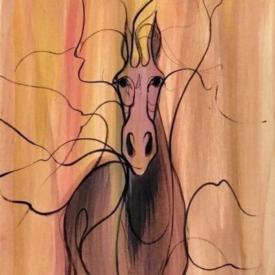 Painting-Pbuckleymoss-original-watercolor-art-horse-CanadaGooseGallery-WaynesvilleOhio