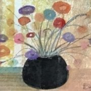 Original Watercolor painting of black pot with colorful flowers elegantly placed. P Buckley Moss artist. Colors of sage green, light pink, white or blank spaces and aqua in the background with black pot and bright shades of red, blue, tangerine and lavender for flowers.