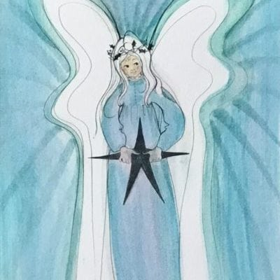 Original watercolor painting by P Buckley Moss features an angel holding a black star. Soft tones of blue and aqua in the background and garment of the angel with broad white negative spaces for wings. Accents of black create interest throughout the image with bold black for the star the angel is holding.