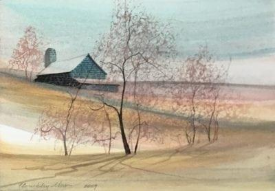 P Buckley Moss original watercolor painting of barn and landscape. Soft tones of gray blue in the brick of the barn, light and medium earth tones, with peach, pink, gold and aqua throughout the land and in the sky.