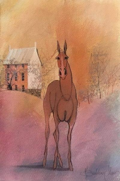 Original watercolor painting by P Buckley Moss. Colorful background of soft mauve, coral and golden hues. House in the background with full body of rust colored horse in the foreground.