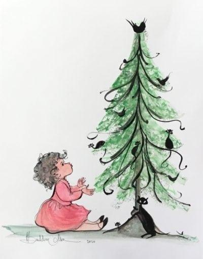 pbuckleymoss-original-watercolor-Christmas-Black-Cat-Child