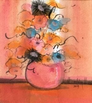 Original watercolor painting by P Buckley Moss sold exclusively at Canada Goose Gallery in Waynesville, Ohio featuring a potted flower arrangement with burgundy, Yellow, cream and rose flowers on a background of rosy pink, splash of rust, gold and turquoise.