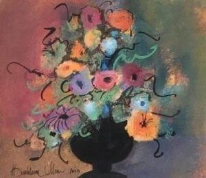 Colorful floral Original watercolor painting by P Buckley Moss. Painted by Pat's own hand. One-Of-A-Kind art piece. Mint condition. Colors of mauve, greens, tangerine, blue, black and rose.