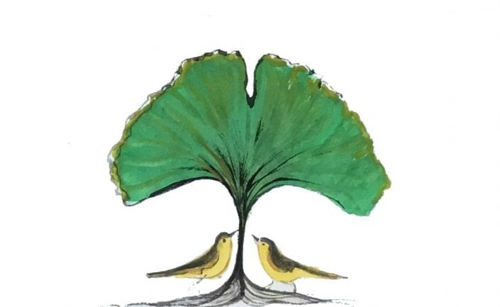 Ginko-Original-watercolor-painting-pbuckleymoss-art-art