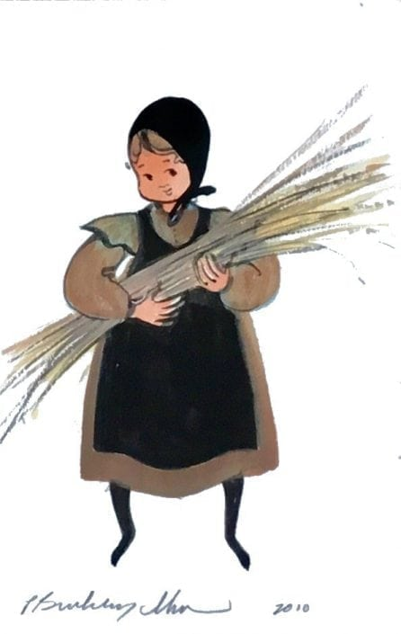 Original Watercolor painting by P Buckley Moss featuring a small girl holding a shaft of wheat in a mauve colored dress with black apron.