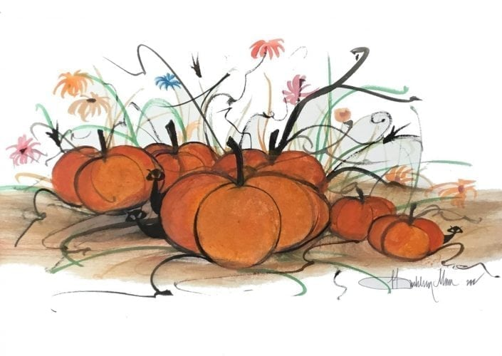 Hangin' In The Pumpkin Patch limited edition print by P Buckley Moss features Fall pumpkins with playful black cats frolicing amongst the pumpkins. Orange pumpkins with greenery and flowers.
