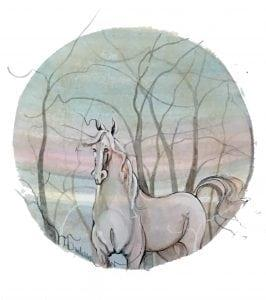 Original watercolor painting of horse by American artist P Buckley Moss. Hard to find miniature original art. This art piece available only at Canada Goose Gallery in Waynesville, Ohio. Colors of soft gray, blues, aqua, blush pink with medium gray in the branches.