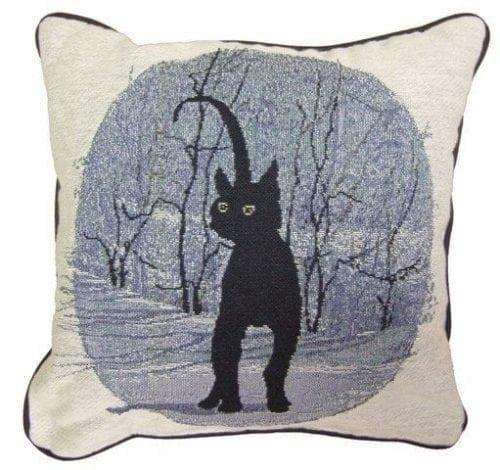 Cinders tapestry pillow with artwork by P Buckley Moss features her ever popular black cat. Pillow image in shades of blue, white and black.