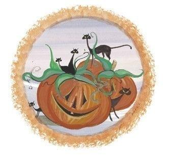 October twelve months of the year limited edition print by P Buckley Moss features a group of smiling pumpkins with playful black cats