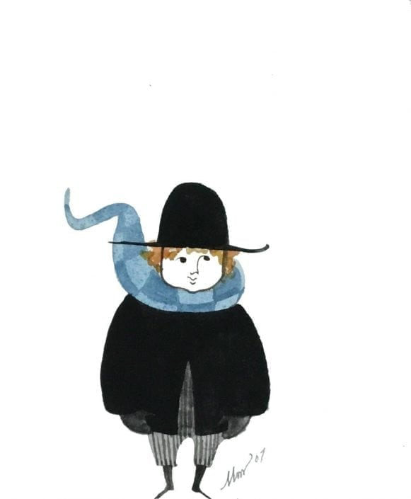 Early Original watercolor painting by P Buckley Moss from 1994. Tones of light and darker blue in the flowing scarf, black coat and hat with gray pants and beautiful golden reddish hair.