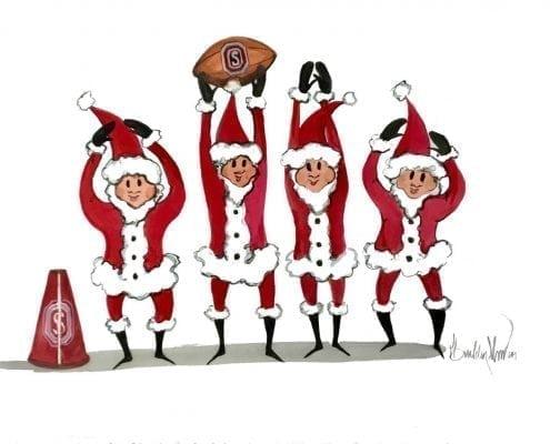 Painting-pbuckleymoss-original-Painting-watercolor-Santa-OHIO-OhioState-football