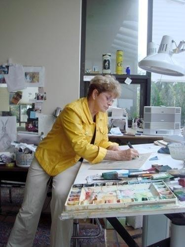 P Buckley Moss at home in her Florida Painting studio where she said she had the best ever light to paint by.