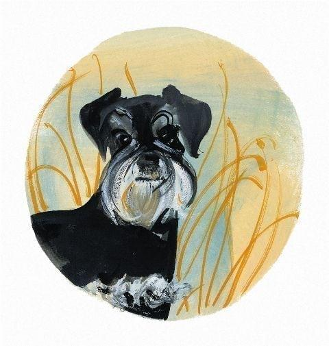 Schnauzer Too limited edition print by P Buckley Moss features a black and white Schnauzer on a background of yellow, aqua and a bit of rust in the grasses,