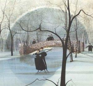 Skater's Dance by P Buckley Moss is a print of the Old Stone Bridge in Snyder Park, Springfield, Ohio